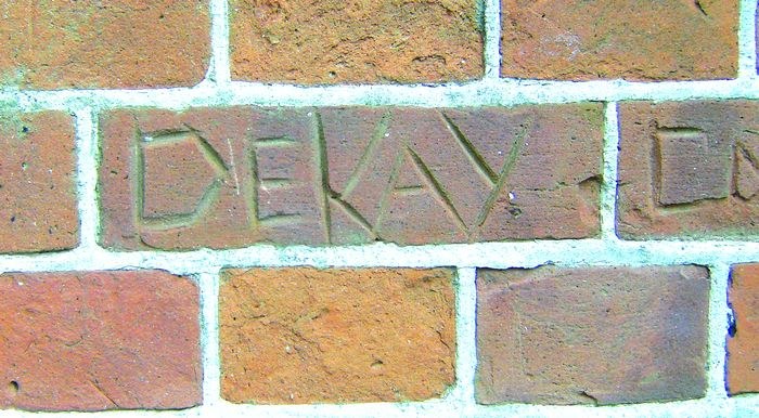Gouges in the brick work of St Peters