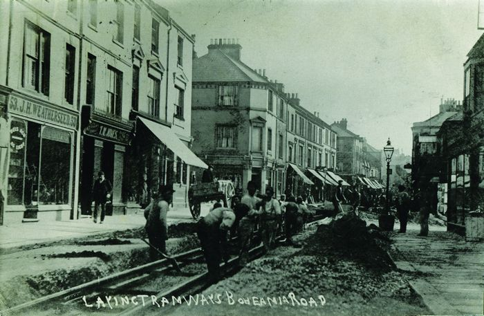 Bohemia Road, in the early 1900s being laid with tramlines. (Picture kindly supplied by Geoff Northwood)