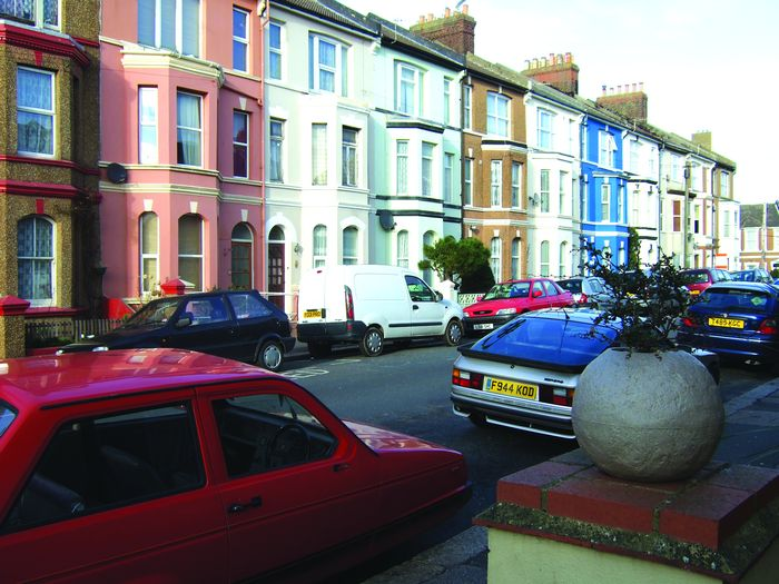Salisbury Road - colourful, smart terraced houses make up the north side of this Bohemia Street.