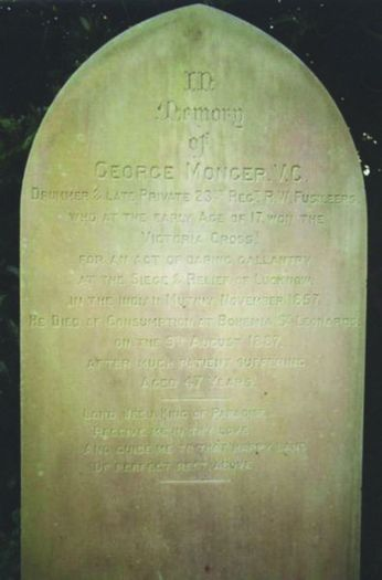 Georges gravestone [left] may be seen in Hastings Cemetery on the Ridge. It reads: In Memory of GEORGE MONGER, V.C. Drummer & late private 23rd Regt