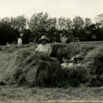 Summerfields - boys in hay on football field. 1910-1912. Chance standing up.