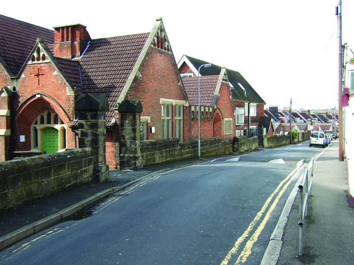 St Peters Church Hall (left) with Streatfield House behind at the top end of Cornfield Terrace.