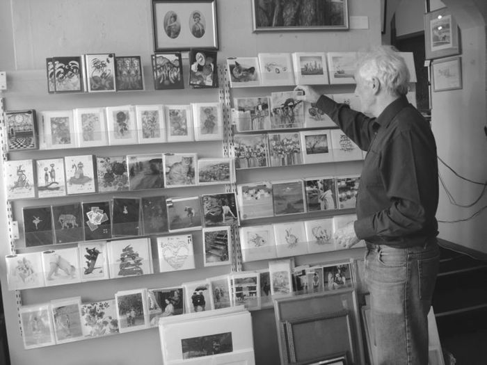 Colin Green with some of his display of 300 greetings cards