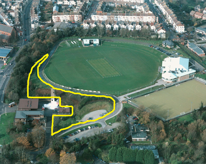 Horntye Park - yellow line shows approximate area of Horntye's development