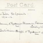Summerfields. Second XI 1910-12 reverse of card