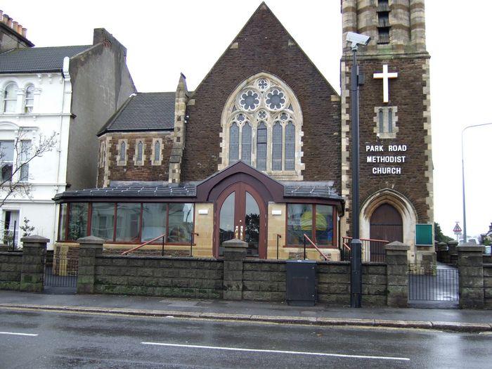 Park Road Methodist Church - new vestibule gets a soaking.