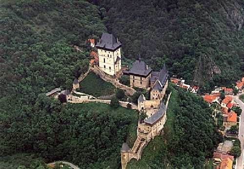 The fairytale Karlstejn Castle where he wed in 1966.