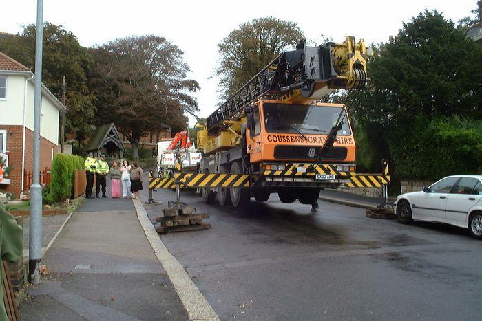 The crane used to extricate the wayward van.