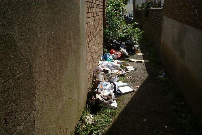 Rubbish seen in North Star alleyway on Monday.