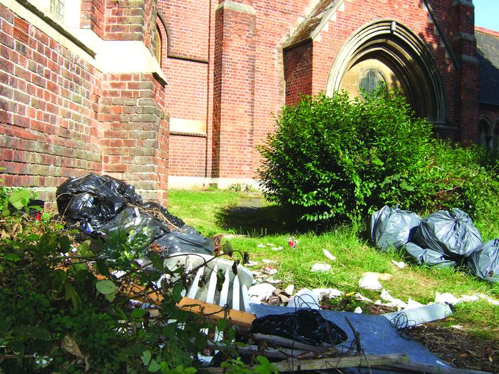 Black bags of rubbish strewn over the grounds at St Peters  less than a week after the grounds had been cleared.