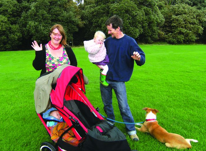 Ken Dawick and his partner Lucy, children Matilda (nearly 2), George (11 weeks) and collie/whippet cross Pops.