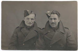 Arthur Booth and another young man on their first day with the Royal Army Service Corps, December 1940, in Cardiff