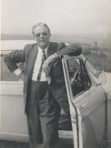 Arthur Booth on South Downs in 1957, as chauffeur to his ladyfriend in her car. She took the photo.