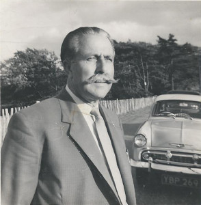 Arthur Booth with 'military' moustache at Fairlight in 1958 next lady friend's car; she took the photo.