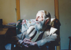 A contented Arthur Booth at his flat at 22 Upper Park Road in 1991, aged 82.