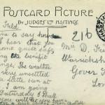 Reverse of Hastings Castle postcard