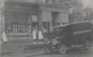 Arthur Booth's first van, Ruby Durrant, when he was 16 in 1925 outside E Walker, the butcher, in Bohemia Road