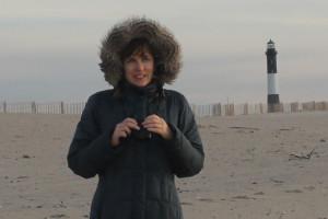 Diane Haberstroh at Fire Island Beach, Long Island, New York, Dec 2013.