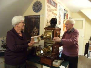 John & Thelma in their attic projection room with double magic lantern