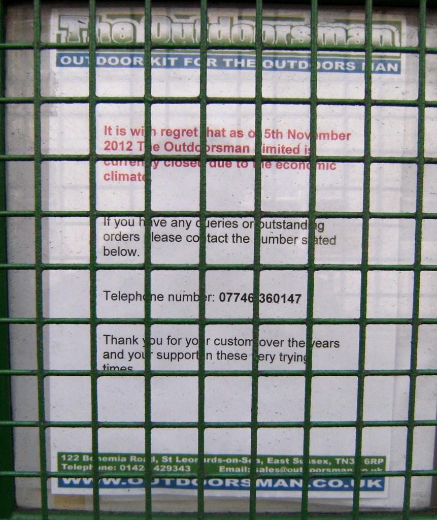 Outdoorsman closure notice, Dec 2012