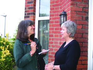 Sue King (left) interviews Barbara Welford in St Paul's Road